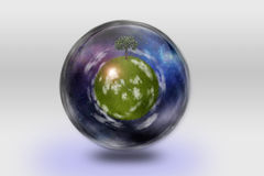 Glass globe with the earth. A glass globe that encloses the earth and ecology stock illustration