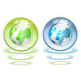 Glass globe with Earth. Suspended by waves isolated on white background vector illustration
