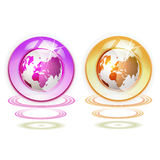 Glass globe with Earth. Suspended by waves isolated on white background royalty free illustration
