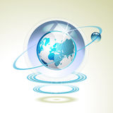Glass globe with Earth. Suspended by waves royalty free illustration