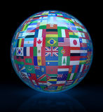 Glass globe with flags around Stock Photography