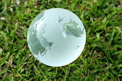 Glass globe in the grass Royalty Free Stock Images