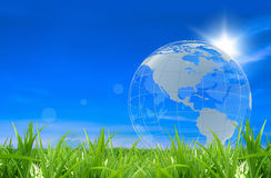 Glass globe in a green field Stock Photo