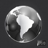 Glass Globe icon on metal background. Vector Royalty Free Stock Image
