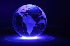 Glass globe is illuminated by light from below Royalty Free Stock Photography