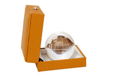 Glass globe in jewelry box Royalty Free Stock Photo