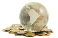 Glass globe and money Royalty Free Stock Images