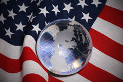 Glass Globe over Flag Royalty Free Stock Image