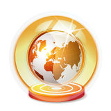 Glass globe with red Earth. Isolated on white background stock illustration