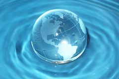 Glass globe in water Royalty Free Stock Image