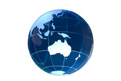 Glass Globe on White - Australia royalty free stock photography