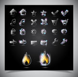 Glass glowing icons for web Royalty Free Stock Photography