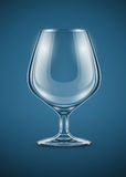 Glass goblet for brandy drinks. Vector illustration EPS10. Transparent objects used for shadows and lights drawing royalty free illustration