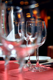 Glass goblets on the table Royalty Free Stock Photo