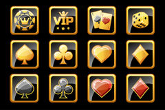 Glass golden and black casino icons, poker game symbols Royalty Free Stock Photos