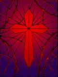 glass gotiskt nedfläckadt för kors royaltyfri illustrationer