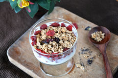 Glass of Granola with Dried Strawberry Royalty Free Stock Images