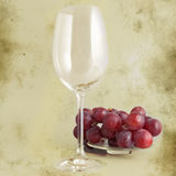 Glass and grapes - retro style Stock Image