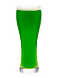 Glass of green beer isolated Stock Photo