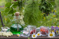 Glass green bottle with potion and dried herbs stock images