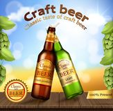 Glass green and brown bottles with craft beer. Vector realistic two glass beer bottle brown and green with brand label stand on wooden table with barley ears and vector illustration