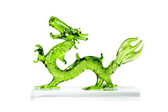Glass green dragon isolated on white background. Stock Image