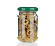 Glass with green olives. Royalty Free Stock Photo