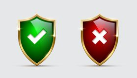Glass green and red shields with check marks. Vector approved and rejected shields with tick and cross signs. vector illustration