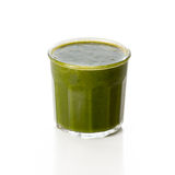 Glass of green spinach smoothie  on white Royalty Free Stock Photo