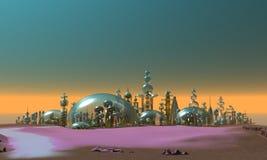 glass guldsilver för stad stock illustrationer