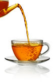 glass hällande tea för kopp Fotografering för Bildbyråer