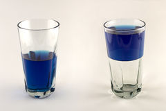 Glass Half Empty, Half Full. 2 glasses filled with blue liquid. One is half empty, one is half full royalty free stock photos