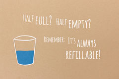Glass half full or half empty collage Royalty Free Stock Photography