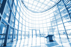 Glass hall. Modern architecture, blue tones Stock Photography