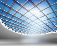 Glass hall. Empty glass hall. Vector illustration Royalty Free Stock Photos