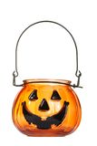 Glass halloween pumpkin candle holder Royalty Free Stock Photo