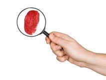 glass hand för fingeravtryck som förstorar Royaltyfri Fotografi
