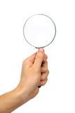 glass hand isolerad förstoring fotografering för bildbyråer
