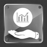 Glass hand showing the icon of graph going up. On metallic background- vector illustration Stock Image