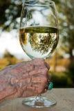 glass hand som rymmer gammal wine Arkivbild