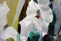 Glass handicrafts alocasia and ladybug Royalty Free Stock Image