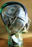 Money on my mind glass head royalty free stock images