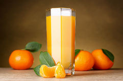 Glass of healthy fresh juice on brown Stock Images