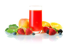 Glass of healthy fruit juice cocktail Stock Image