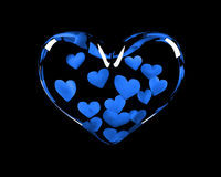 Glass heart with 14 blue hearts inside Stock Images