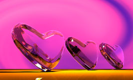Glass heart. Scene three glass hearts Executed in 3 D Stock Photos