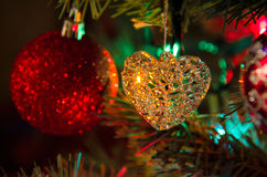 Glass heart Christmas tree decoration ornament Royalty Free Stock Photo