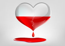 Glass heart with a crack and blood Royalty Free Stock Images