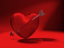 Glass heart and cupid arrow on red. 3d heart made of glass pierced by cupid arrow on red background Stock Photos