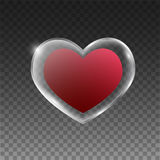 Glass heart with frame Stock Image